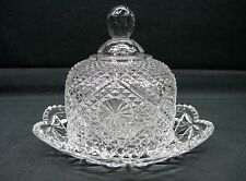 Vintage Avon 2 Pc Domed Crystal  Clear Glass Covered Butter/Cheese Dish