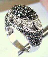 LADIES 1.96 CTW BLACK & WHITE DIAMOND HEARTS DESIGN RING size 6 - 14k WHITE GOLD