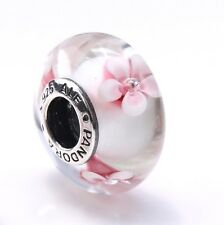 AUTHENTIC PANDORA CHERRY BLOSSOM S925 ALE STERLING SILVER MURANO BEAD 790947