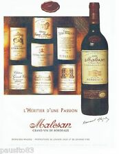 PUBLICITE ADVERTISING 116  2002   vin Bordeaux Malesan  Domaine Magrezi