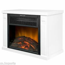 "13"" White Freestanding Tabletop Mini Log Style Electric Fireplace Stove Heater"