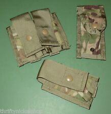Lot of 3 US Military Issue Multicam Camo 9MM Ammo Single Double 40MM HE Pouches