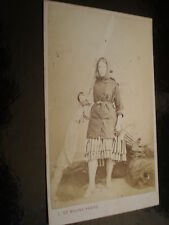 Cdv old photograph shrimp fisherwoman of Boulogne France by De Mauny c1860s