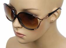 NEW WOMEN'S FASHION TREND CLASSY RIBBON FRAME BIG ROUND SUNGLASSES BROWN KS1227H