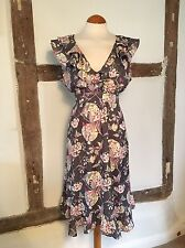 Monsoon Grey Floral Dress UK 16 Birds Butterfly Ruffle Wedding Party Vintage