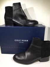 Cole Haan Elion Womens Size 10 Black Leather Suede Booties Boots ZE-134