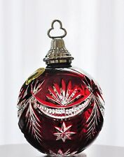 Waterford 2005 Ruby Red Cut to Clear Crystal Winter Wonderland Ball Ornament New