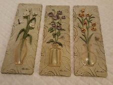COLLECTIBLE CHERI BLUM SIGNED FLORAL FLOWERS IN VASE 3D  RESIN WALL HANGING 3 EA