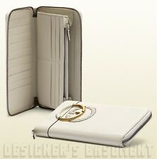 GUCCI white TWILL gold INTERLOCKING G zip around LARGE Travel Wallet NIB Authent