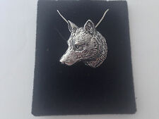 A66 Wolf Head on a 925 sterling silver Necklace Handmade 18 inch chain