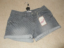 M&S Angel - grey denim shorts with white polka dots - Size S