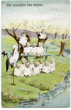 ENFANTS. BéBéS  MULTIPLES. CIGOGNE. STORK. MULTIPLE CHILDREN. BABIES.