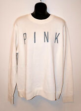 NWT VICTORIA'S SECRET PINK Logo Crew Sweatshirt Off White Women's Long Sleeve M