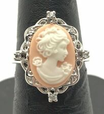 Sterling Silver 925 Peach Oval Cameo CZ Cluster Swirl Halo Curved Cocktail Ring