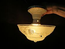 "Art Deco Porcelier Ceramic & Glass Ceiling Light Fixture 10"" Grapes 3 chains Vtg"