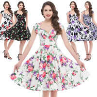 Retro Swing 50's 60's Vintage Pin Up Casual Housewife Party Prom Cocktail Dress