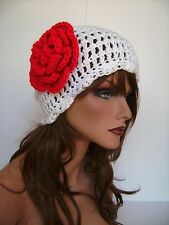 WHITE RED FLOWER BEANIE CAP HAT BAGGY HAND CROCHET BERET SKULL CAP