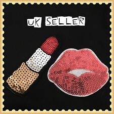 Sequin Red Lips & Lipstick Iron / Sew On Embroidered Cloth Patches