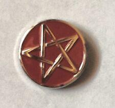 Metal Enamel Pin Badge Brooch Pentagram Pentangle 5 Pointed Star Red