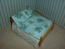 Brand New - Double Bedding Set - Blue with Blues Roses for 1/12 Dolls House