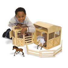Wooden Horse Stable Playset Folding Wood Steed Barn Hayloft Kids Boys Girls Toy