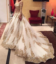 White Gold Embroidery Beading Long Sleeve Pageant Bridal Gown Wedding Dress Plus