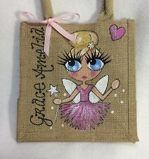 Personalised Hand painted Jute Fairy Tinkerbell Pixie Girl Mini Gift Bag