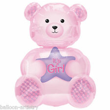 "24"" Pink It's a Girl Teddy Bear Foil Supershape Balloon"