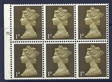 UB1 1d Pre-decimal Machin Booklet Pane Cyl F1T Dot UNMOUNTED MINT