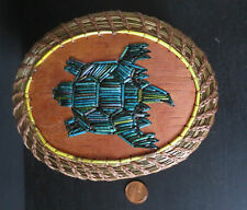 Quilled Turtle on Birchbark /coiled sweetgrass basket by  Paul St.John-Mohawk