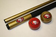 NFL San Francisco 49ers Billiard Pool Cue Stick & Team Logo Cue Ball ~ FREE Ship