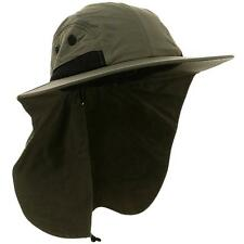 4 Panel UV50+ Sun Protection Outdoor Large Bill Flap Hat Juniper MG OLIVE GREEN