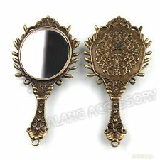 6pcs Pretty Carved Cameo Handle Mirror Charms Antique Bronze Pendants Findings C