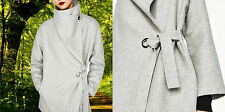 ZARA S  WOOL HAND MADE BELTED COAT WATERFALL WOLLMANTEL MANTEL WASSERFALL KRAGEN