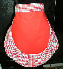 LADIES RED + WHITE 50'S HALF WAIST APRON PINNY RETRO VINTAGE STYLE FRILLY
