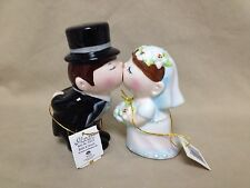 2006 Westland Giftware Kissing Bride and Groom Salt Pepper Shakers Magnetic New