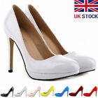 WOMENS LADIES PATENT HIGH HEELS ROUND TOE CORSET STILETTO COURT SHOES SIZE 3-8