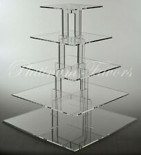 5 TIER SQUARE ACRYLIC CUPCAKE STAND CLEAR WEDDING CAKE STAND