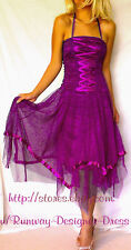 NEW Rockabilly Purple Corset Lace-up Burlesque Tulle Pin-up Girl Dress Size 8