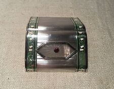 Antique Art Deco Sterling Silver Floral Enamel Garnet Crystal Cigarette Case