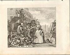 1818 Grabado Cobre Hogarth georgiano ~ casi detención para la deuda