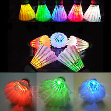 Brand New 4 Pcs Birdies Lighting Dark Night Colorful LED Badminton Shuttlecock