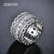 Trendy Women Crystal CZ Wide Band Charms Wedding Ring Lady Promise Ring Size 9