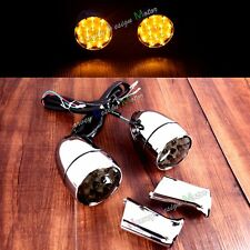 Rear LED Smoke Turn Signals Lights W/ Brackets For Harley Sportster XL 883 1200