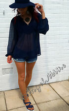 ZARA NAVY EMBOIDERED FRONT BIB WITH TASSEL SIZE S