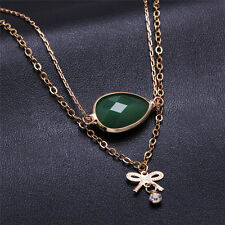 Luxury Gold Tone Multi Chain Charm Glass Beads Bow-knot Pendant Necklace Jewelry