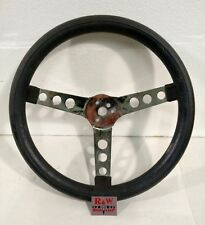 "Vintage Black 13"" Superior 500 Steering Wheel Hot Rat Rod - Chrome Center"