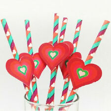 25 Paper Drinking Straws with Tag Stickers Valentine's Day Party Decor Pattern 2