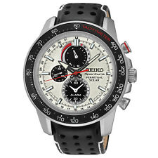 New Seiko SSC359 Sportura Solar Chronograph Black Leather Strap Men's Watch