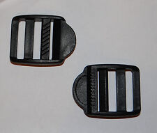 """Lot of 2 Black 1"""" wide Replaceable Luggage/Bag strap release Slide Buckle"""